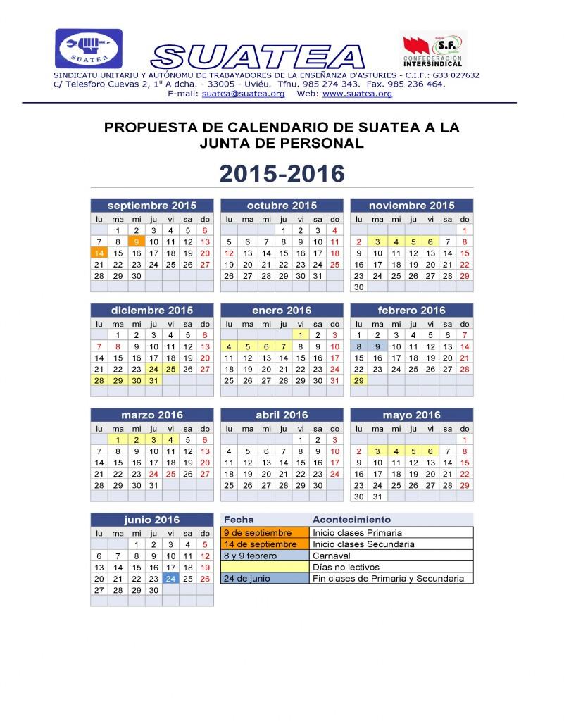 Calendario Escolar curso 2015/16- Propuesta de la Junta de Personal ...