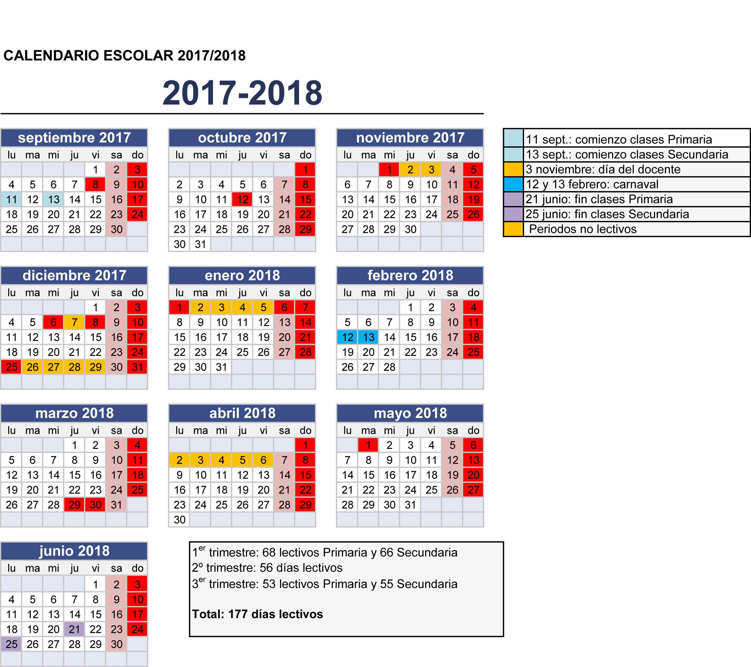 Calendario Escolar Meduca 2018 17